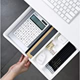 Under Desk Drawer, Pencil Drawer Tray, Office Storage Organizer, Self-Adhesive Hidden Desk Storage with Smooth Sliding Track