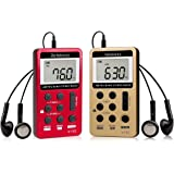 Retekess V112 Portable Pocket AM FM Radio Digital Tuning Mini Little Radios with Earphone Rechargeable Battery LCD Screen for