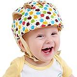 XJD 赤ちゃん 頭 ガード ベビー ヘルメット 室内用 綿100% 可愛い 洗える スポンジ ソフト 超軽量 衝撃吸収 サイズ調整可能 赤ちゃん 頭 守る ヘルメット (リンゴ柄)