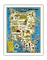 """オアフ島、ハワイ""""MEM-O-マップ"""" - 第二次世界大戦軍事記念碑マップ - ビンテージイラストマップ によって作成された ジョン・G・ドルリー c.1946 - アートポスター - 28cm x 36cm"""