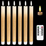 DRomance LED Flameless Taper Candles Battery Operated with Remote and Timer, Set of 6 Real Wax Warm Light 3D Wick Flickering