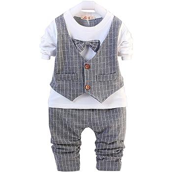 c5eff6546255f Wanghongセットアップ ベビー 男の子 2点セット Tシャツとズボン 長袖 ベスト チェック柄 子供