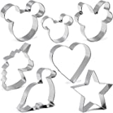 Cookie Cutter for Kids,Mickey & Minnie Mouse Unicorn Dinosaur Heart Star Shapes Stainless Steel Cookie Cutters Mold for Cakes
