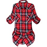 Women's Mid-Long Style Roll Up Sleeve Flannel Classic Plaid Shirt
