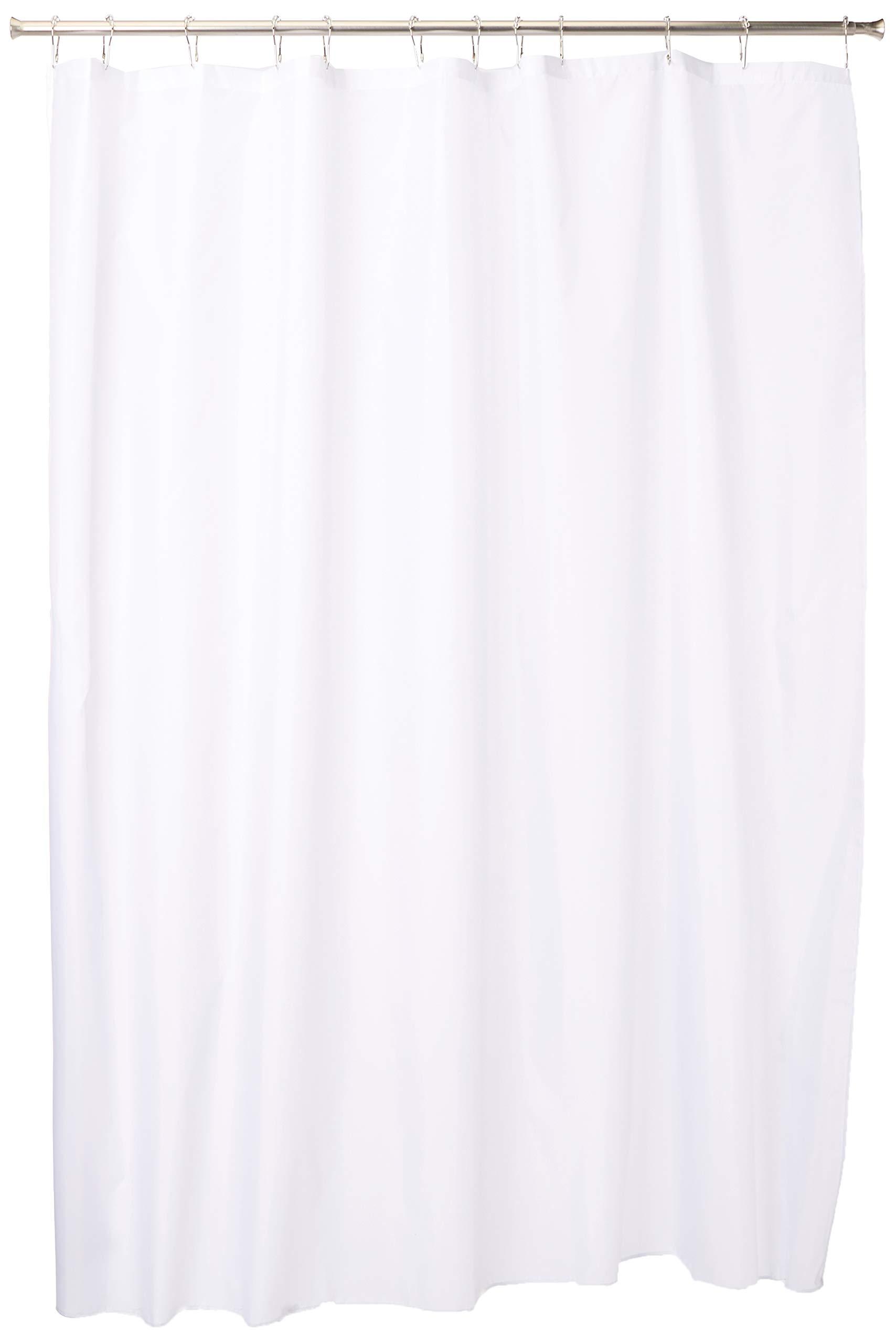 シャワーカーテン 防水加工 布製 無地 183cm x 183cm ホワイト 14652EJ