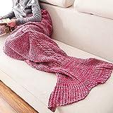 ネイフ - マーメイドテールブランケット手作りウェーブ寝袋かぎ針編みブランケットシーズン暖かいソフトリビングルームの機会眠る毛布子供のための最高の誕生日クリスマスギフト十代の若者 ( Color : Red 80*190cm )