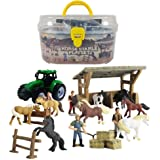 GreenKidz Horse Toys Stable Playset with Portable Case Take Along Horse Gift Set for Boys and Girls Party Supplies Collection
