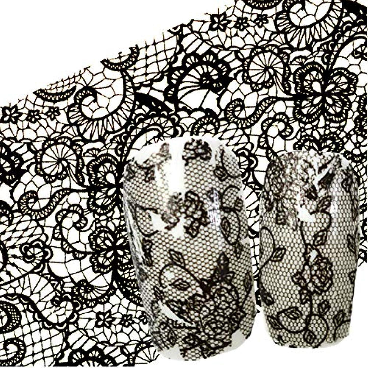 考古学者計算するくすぐったいSUKTI&XIAO ネイルステッカー 100X4 Cmネイルアート黒花レースマニキュアネイルアートネイルペーストグルーフィルムフラッシュ美容デザイン