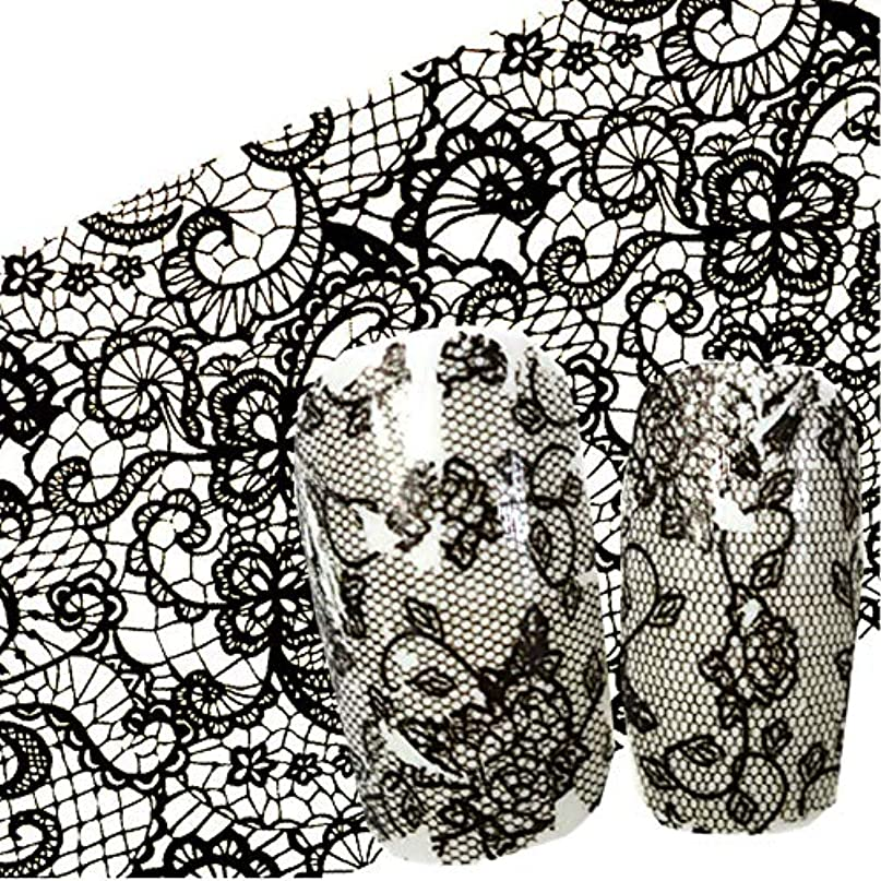 悪夢真似る分泌するSUKTI&XIAO ネイルステッカー 100X4 Cmネイルアート黒花レースマニキュアネイルアートネイルペーストグルーフィルムフラッシュ美容デザイン