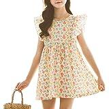 Girls Dress Summer Short Sleeve Dress Unicorn Floral Flower Colorful Rainbow Casual Dress for Toddler Kids Baby Little Girl