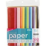 Craft Craze 100-Piece Premium Quality Tissue Gift Wrapping Paper Crafts, Packing and More, 20 x 26 inches (100 Sheets), Assor