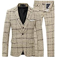 Cloudstyle Men's 3-Piece Suit Plaid Slim Fit One Button Single-Breasted Wedding Blazer