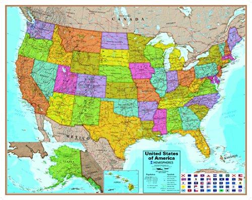 Hemispheres(エミスフェール) アメリカ 地図(英語表記)ポスター...