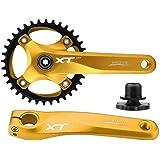 Bike Crankset, Mountain Bike Crank Arm Set Aluminum Alloy Crankset Integral Single Speed Crank Set Sprocket Crankarms Bottom