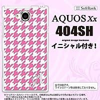 404SH スマホケース AQUOS Xx カバー アクオス ダブルエックス イニシャル 千鳥柄(大) ピンク白 nk-404sh-917ini H