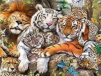 LIPHISFUN タイガーとライオン新しい刺繍100%フルスクエアドリルダイヤモンドクロスステッチラインストーンダイヤモンド刺繍モザイク動物(30x40cm)