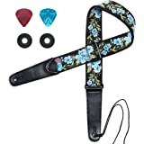 Guitar Strap, IHOBOR Jacquard Spring Blue Flowers Guitar Strap with Genuine Leather End, Acoustic Electric Bass Guitar Strap
