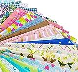 GUQI 綿 生地 はぎれセット 花柄 DIY手作り カットクロス パッチワーク 布 約30cm×30cm (25枚)