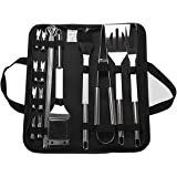 BBQ Grill Tool Set, 20pcs Stainless Steel BBQ Accessories in Carrying Bag, Barbecue Turners for Outdoor and Indoor