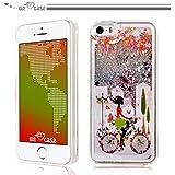 WeLoveCase iPhone 5 / 5s / SE 用 ハードケース pc素材 ポリカーボネート樹脂 クリア 透明 キラキラ 流れ砂や星  カバーガール 薄型 軽量 スッキリ 頑丈 おしゃれ 可愛い アイフォン5 5S