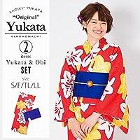 [KIMONOMACHI] 浴衣セット「赤色 鉄線」S,F(フリー),TL,LL 女性浴衣セット