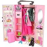 Barwa Fashion 44 Accessories: Closet + 8 Clothes Dresses + 10 PCS Shoes for 11.5 Inch Girl Dolls + 2 Clothes + 2 PCS Shoes fo