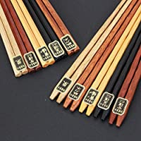 藤代工芸 木製 民芸彫5色&六角箸5色 10膳セット