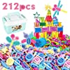 Tagitary ブロックのおもちゃ 212点 知育おもちゃ ボックス付き 収納便利 キッズおもちゃ 組み立て式 DIYおもちゃ 積む遊び 2種類豪華セット 男の子 女の子 誕生日プレゼント 保育園教具 祝いギフト