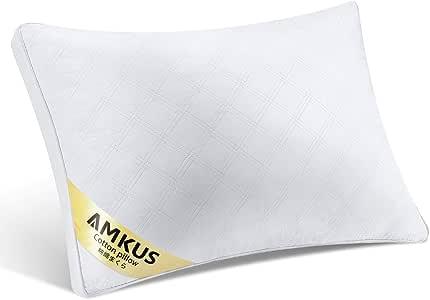 AMKUS 枕 安眠枕 高反発枕 高級ホテル仕様 通気性抜群 抗菌 防臭 人間工学設計 横向き対応 高さ調節可能 首・頭・肩をやさしく支える 丸洗える 63×43cm ホワイト