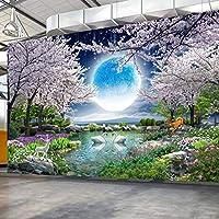 カスタム壁画壁紙ムーン桜の木自然風景壁絵画リビングルームの寝室の写真壁紙家の装飾-130X100Cm