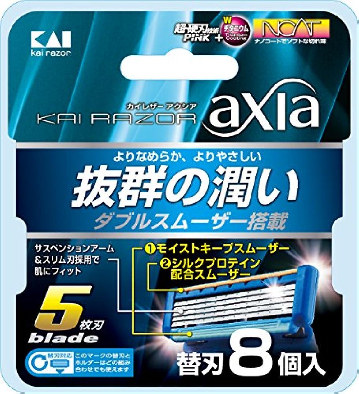 毎月オゾン軍KAI RAZOR axia(カイ レザー アクシア)5枚刃 替刃 8個入
