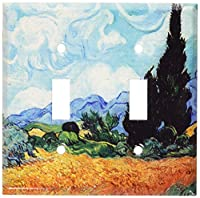 Van Gogh–イエローWheat & Cypressesスイッチプレート Double Toggle D301-plate 1