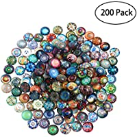 ROSENICE 12mm Mixed Round Mosaic Tiles 200pcs for Crafts Glass Mosaic Supplies for Jewelry Making