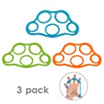 MoKo Hand Grip Strengthener, 3 Pack Finger Exerciser & Hand Grip Ring Muscle Power Training Rubber Ring Exerciser Gym...