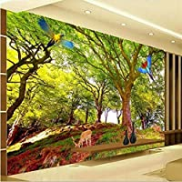 Wuyyii 壁紙カスタムリビングルーム寝室現代のミニマリストの森風景壁画Hdパス緑の森テレビの背景B-350X250Cm
