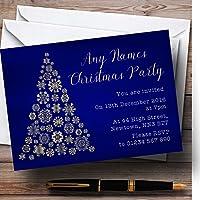 ブルー&ゴールドスノーフレーククリスマスツリーPersonalizedクリスマス新しい年/休日/ P。。。 20 Invitations