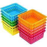BTSKY New 12 Pack 6 Colors Pencil Basket Classroom Pencil Organizer Crayon Basket Square Office Supply Baskets OrganizationTr