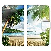 iPhone8Plus ケース 手帳型 ストラップホール付 海 やしの木 砂浜 雲 ハワイ 絶景 U001202_04