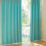 [窓美人] 遮光 カーテン [パステル] 遮光カーテン 2枚組 + カーテンフック取り付け済み + カーテンタッセル ターコイズブルー 幅100×丈220cm 2枚セット カーテン単品