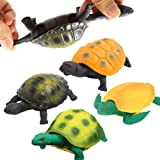 Turtle Toys5 Inch Rubber Tortoise Turtle Sets(4 Pack)Great Safety Material TPR Super StretchyCan Hide In ShellValeforToy Sea