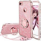 iPhone 7 ケース, iPhone 8 ケース, かわいい リング付き キラキラ 衝撃吸収 スタンド機能 おしゃれ ラインストーン ソフトプロダクション 女子用 アイフォン 7 / アイフォン 8 ケース (ローズゴールド/ピンク)