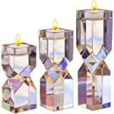 Amazing Home Large Crystal Candle Holders Set of 3, 4.6/6.2/7.7 inches Height, Prepackaged Elegant Heavy Solid Diamond Cut Te
