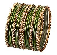 新しい。Touchstone Indian Bollywood合金メタルand Textured Hennaグリーンカラー手首美容商品デザイナージュエリーバングルブレスレット。18のセット。アンティークゴールドトーンの女性の。