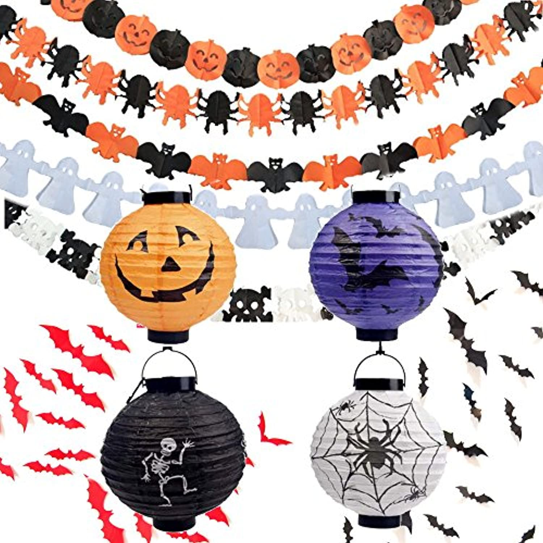ハロウィン 飾り付け 装飾 33点セット ガーランド 提灯 オーナメント コウモリ ウォールステッカー