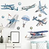 Wajade Watercolor Wall Stickers,2PCS Airplanes Parachute Astronaut Wall Art Decals Peel and Stick Wall Stickers for Boys Kids