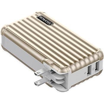 ROMOSS モバイルバッテリー 10000mAh ACプラグ内蔵 大容量 2ポート スマホ充電器 スーツケース おしゃれ iPhone iPad Android対応 ゴールド UP10