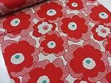 綿麻 マリメッコ風大きな花柄 レッド赤 キャンバス生地   |北欧風|生地|布地|