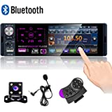 Camecho Single Din Bluetooth Car Radio 4'' Capacitive Touch Screen Car Stereo FM/AM/RDS Radio Receiver with Dual USB/AUX-in/S