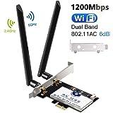 Hommie WIFI ワイヤレス アダプター 無線LAN 変換ボード ネットワークカード PCI-Express用 モジュールカード(デスクトップ PC) 高速 最大867Mbps 2.4/5GHz デュアルバンド 2*6db アンテナ