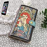 リトルマーメイド/アリエル[iPhone6ケース]レザー製アイフォン6手帳型カバー/ステンドグラスコレクション